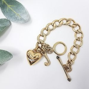 JUICY COUTURE Chain Charm Bracelet Puffed Heart